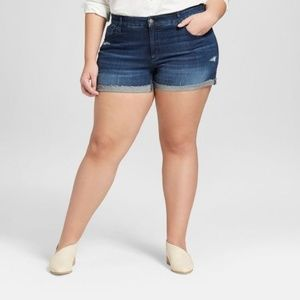 Women's Plus Size Destructed Midi Jean Shorts